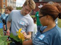 SCA Interns and volunteers reclaiming urban garden spaces