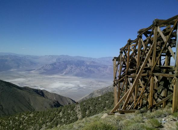 Owens Valley from a peak in the Inyo Mountain Wilderness and the Salt Tram. The Salt Tram was built in 1911 and transported salt from the Saline Valley over the Inyo Mountains into the Owens Valley. It's a really interesting thing, so look it up on the interwebs.