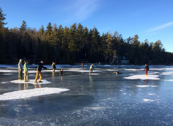 SCA Excelsior Corps try the ice in the Adirondacks