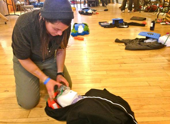 WFR training didn't allow for many practical pictures of the Crew, but this is Leslie brushing up her CPR skills.