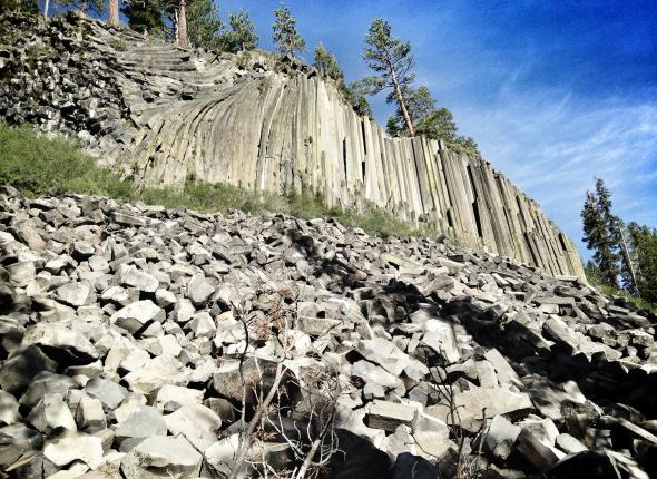The Devils Postpile. Formed by a combination of lava flow and periods of glaciations, this unique structure features exposed columnar basalt. Leslie was an interpretation intern with the SCA at this National Monument last summer and told the crew all about the origins of the pile of posts.