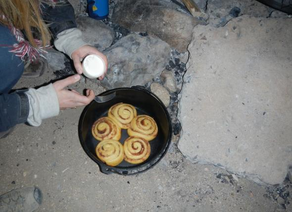 Cinnamon rolls in the Dutch Oven!