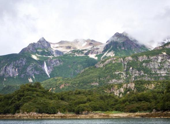 Mountains and waterfalls surround Amalik Bay (NPS Photo/D. Kopshever)