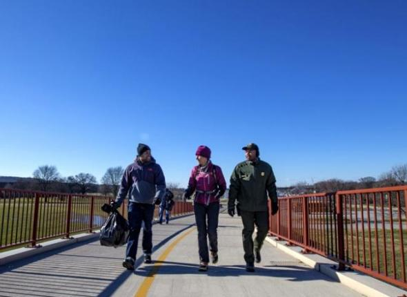 SCA's Roland Richardson walks with Secretary of the Interior Sally Jewell