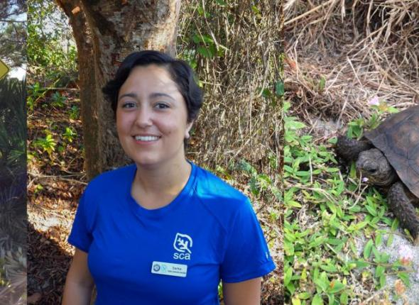 Student Conservation Association Member Sarika Khanwikar with an endagnered Gopher Tortoise