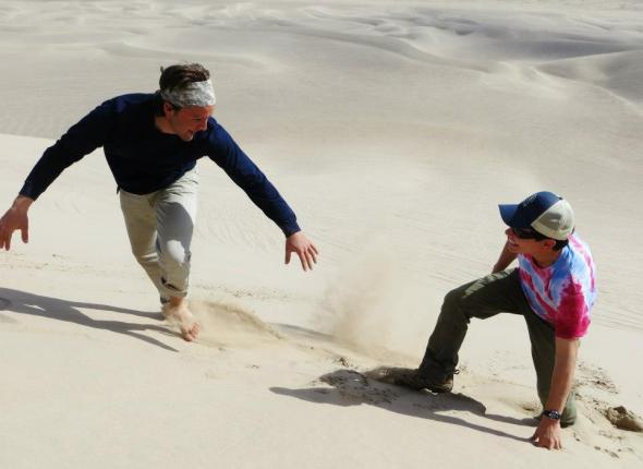 Noah and David up at the Dumont Dunes