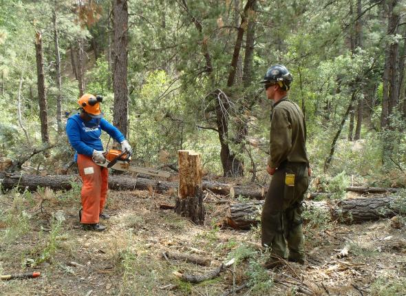 (Left to right) VFC Member, Simone, working with Prescott Naional Forest's fire fighter.