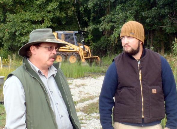 NPS botanist Dan Mason and Adam talking about restoration plans