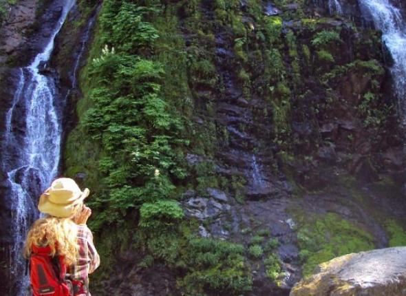 Julie and Boulder River Falls