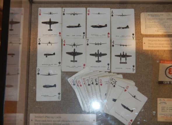 A Fort Macon exhibit - the playing cards depict various fighter jets, which helped soldiers to identify them in the field