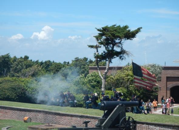 The skirmish at Fort Macon