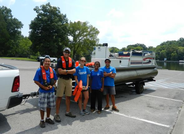 The Team after a successful day setting up fish attractors on Old Hickory Lake