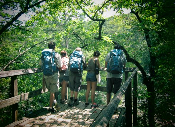 Members look out over Sweetwater Creek