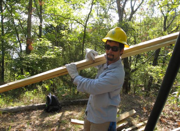 Jeff during pedestrian dridge repairs at the Overlook Trail of Tenkiller Ferry Lake.