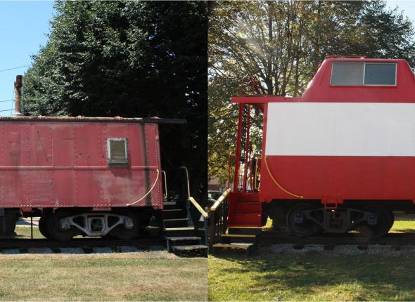 California's restored caboose, before and after