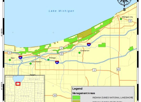 Overview Map of Indiana Dunes National Lakeshore