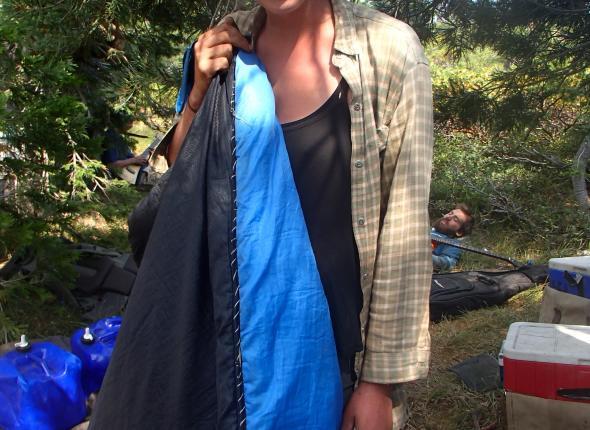 A freshly sewn sleeping bag (with dental floss!)