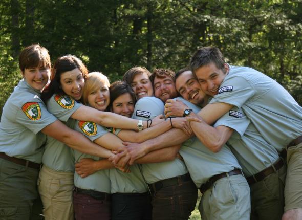 Debbie, Rachael, Kelsey, Nicole, Emily, Caleb, Andrew, and Steve getting silly!
