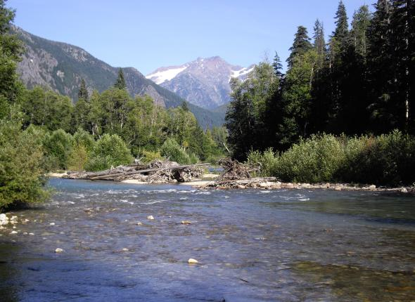 A logjam settles atop a gravel bar in Big Beaver Creek. Behind it looms Jack Mountain, whose north face, to the left of the peak, is cratered out by the Nohokomeen Glacier.