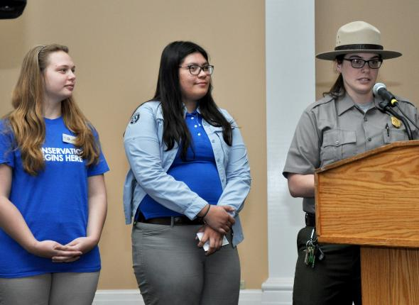 Interns Brianna Sims and Kim Samaniego with Ranger Cam Amabile