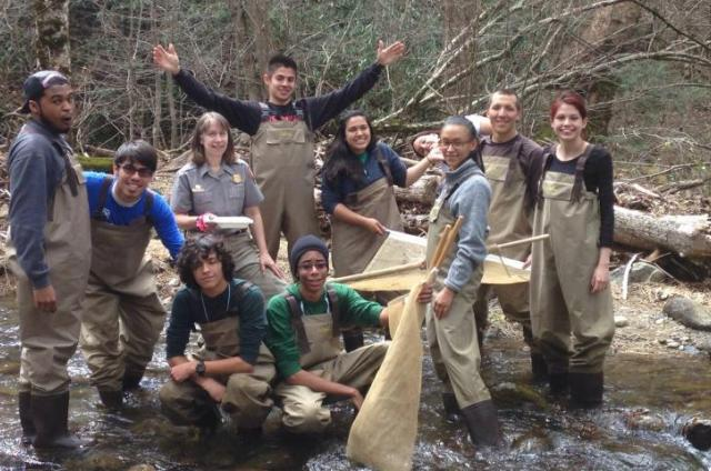 SCA Alumni Council member Daniel Dryburgh participates in a river wildlife survey with his SCA NPS Academy classmates at Great Smoky Mountains National Park.