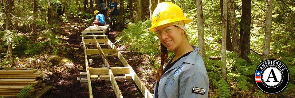 The Student Conservation Association has worked with Americorps since 1993 -- on projects like this accessible trail ramp.