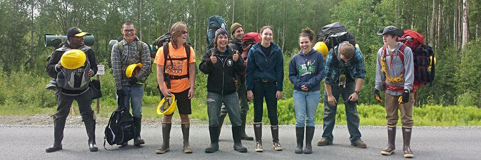 SCA Alaska Crewmembers getting ready to go out on the trail.