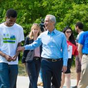 Chicago Mayor Rahm Emmanuel with SCA member Kailon Lang and VP Rafael Ruiz