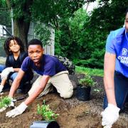 SCA Crewmembers in Pittsburgh replanting a green area