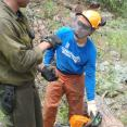 (Left to Right) Prescott National Forest's firefighter, Clay, working with VFC member, Marshal.