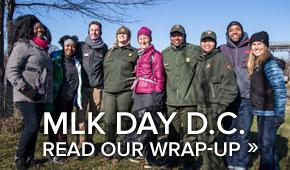 SCA volunteers at MKL Day of Service in Washington DC  January 18, 2016, including U.S. Secretary of the Interior Sally Jewell